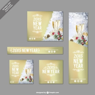 Golden Christmas banners pack