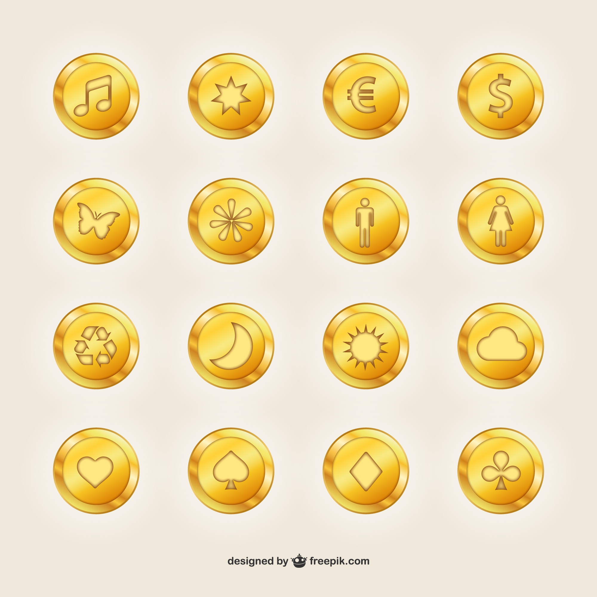 Golden coins with symbols