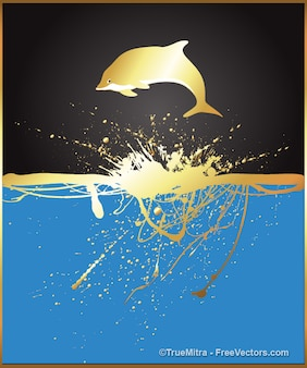 Golden dolphin jumping with splashes background