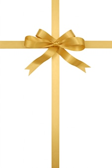 Golden gift ribbon and bow
