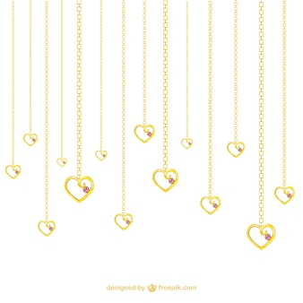 Golden heart shaped necklaces