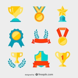 Golden medals and trophies vector
