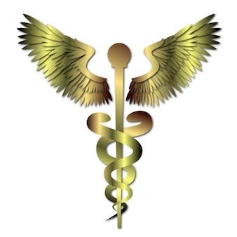 Golden metal medical caduceus sign