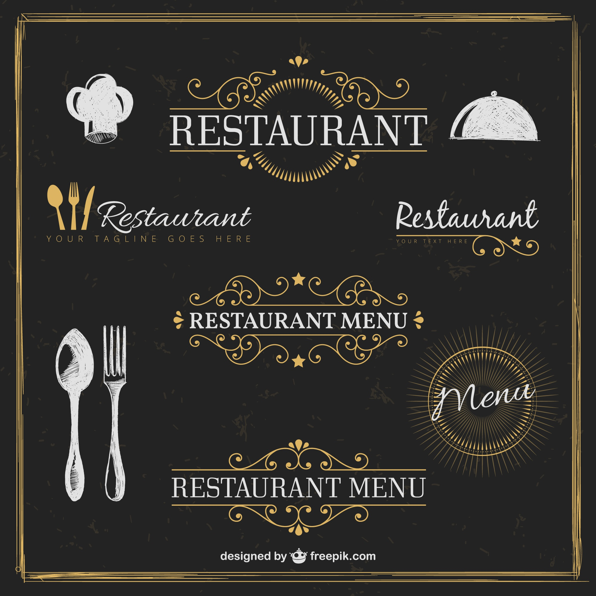 Golden restaurant badges in retro style