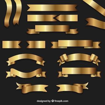 Golden retro ribbons