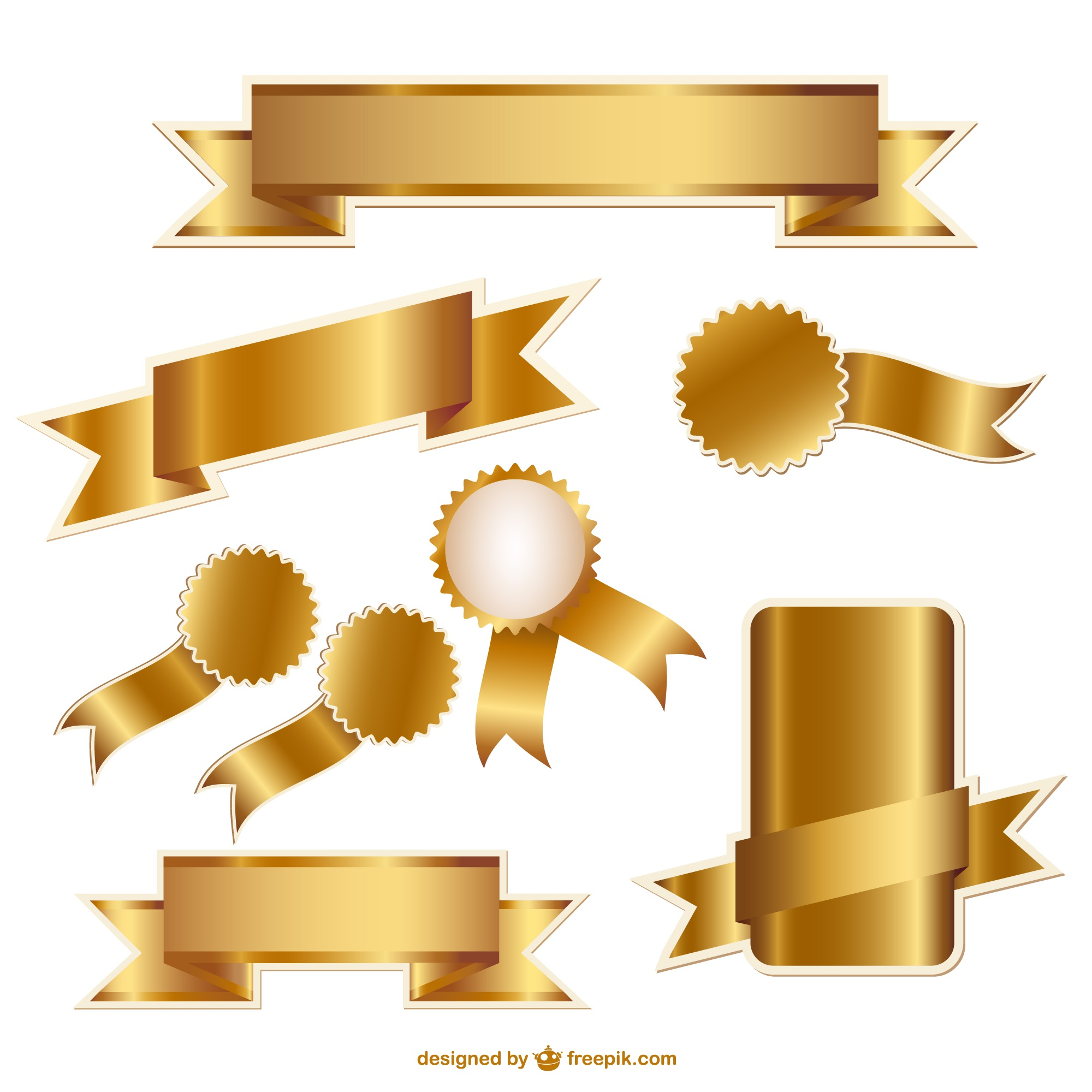 Golden ribbons and badges vector graphics