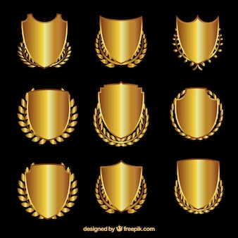 Golden shields with laurel wreaths