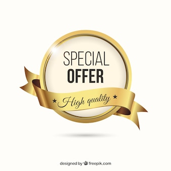 Golden special offer label