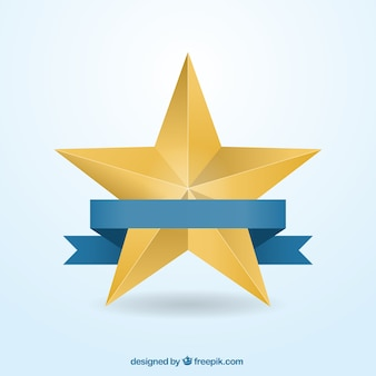 Golden star with a ribbon