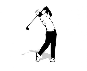 Golf back swing creative vector silhouette