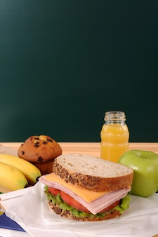 Good breakfast with blackboard background