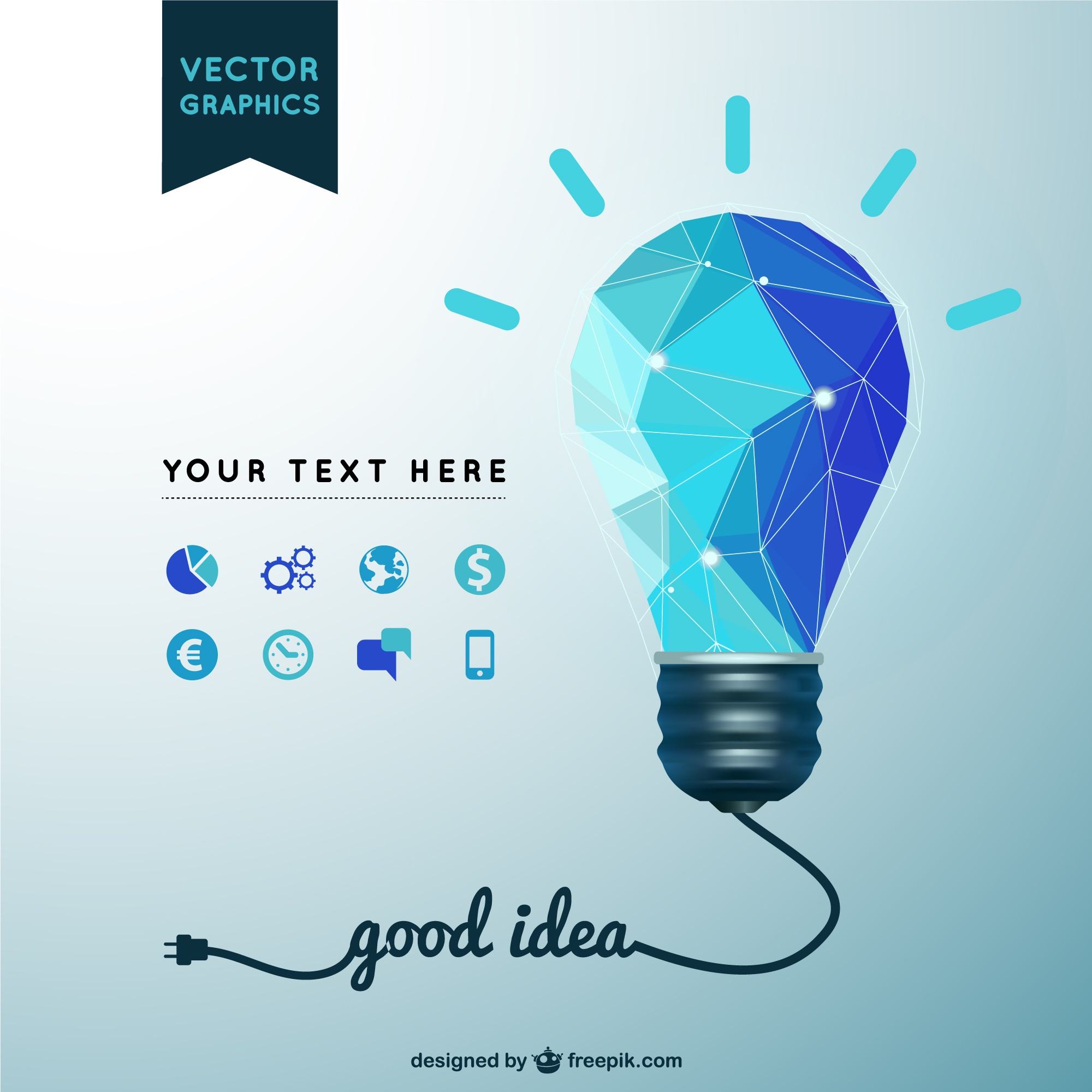 Good idea vector with light bulb