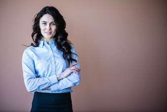 Good looking business woman with arms crossed