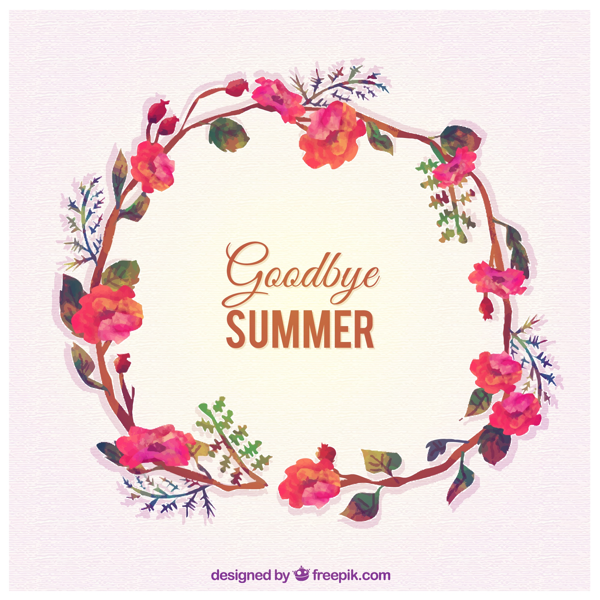 Goodbye summer with floral wreath