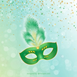 Gorgeous carnival mask in green tones