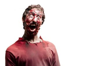 Gory terrified zombie