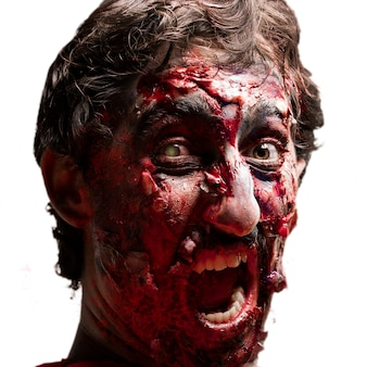 Gory zombie with open mouth