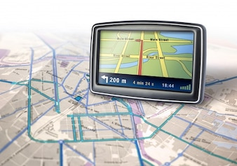 Gps on road map