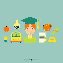 Graduation graphic elements set