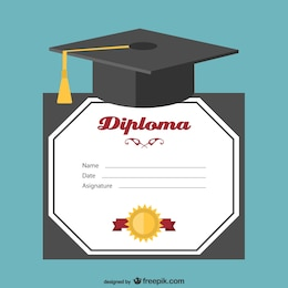 Graduation hat and certificate vector
