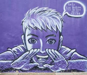 Graffiti of a screaming boy