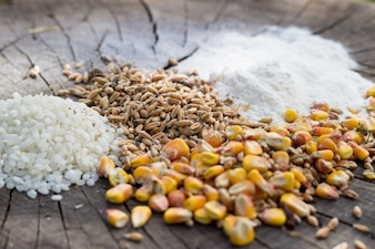 Grains food mix on wooden background