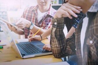 Graphic designer team, Student group , Business team brainstorming meeting.