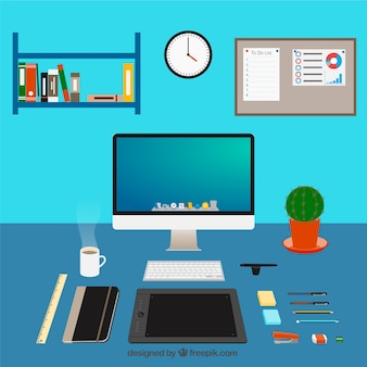 Graphic designer workspace