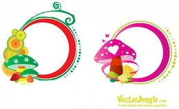 Graphics Mushrooms with colorful shapes