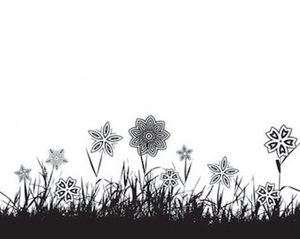 grass silhouette with flowers