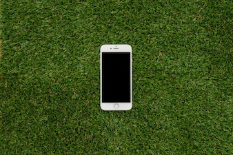 Grass surface with mobile phone