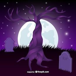 Graveyard and tree scene