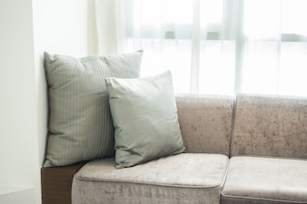 Gray cushions on a couch