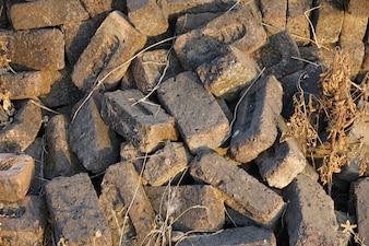 Gray stone bricks heaped