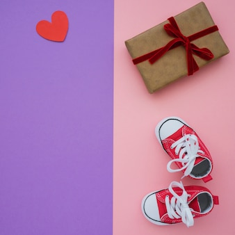 Great composition with present and shoes for father's day