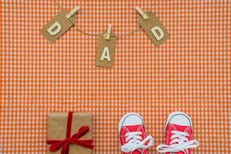 Great father's day composition with checkered background