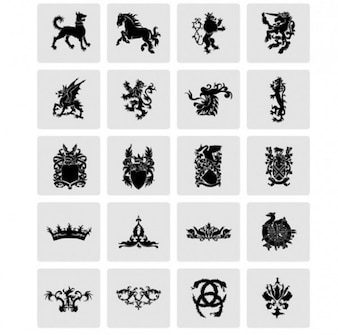 Great heraldry military shield vector set
