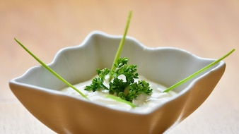 Great homemade tartar sauce in a bowl. Garnished with parsley.