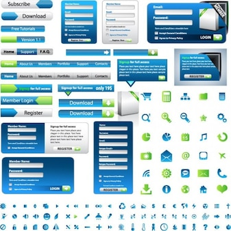 Green and blue web design elements