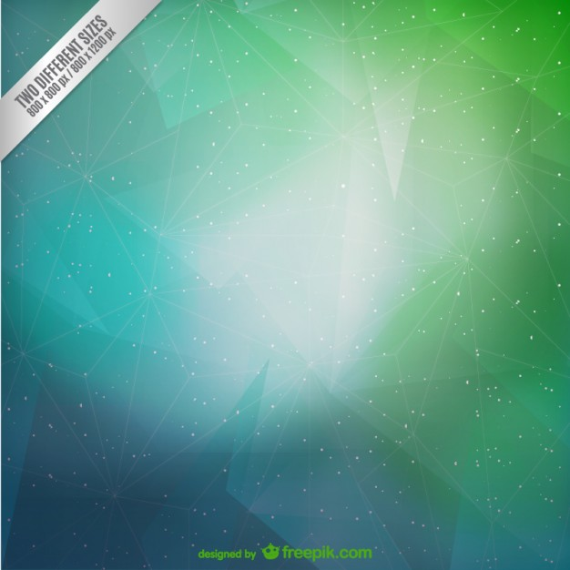 Green and cyan triangles and stars background