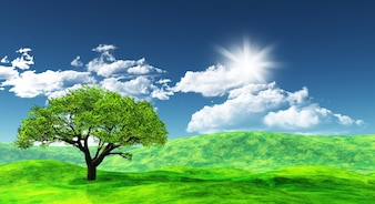 Green background with a tree