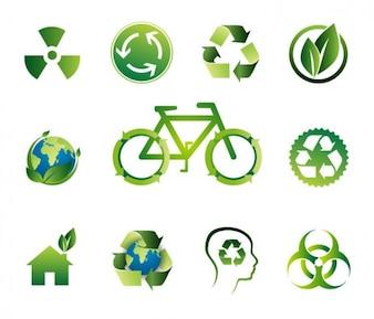 green bio vector icon set