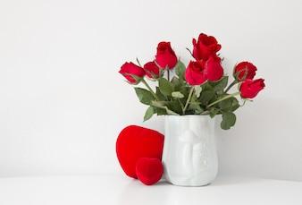 Green blooming object still vase