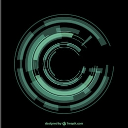 Green circular techno background