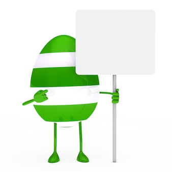 Green egg pointing a sign without message