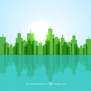 Green environment with city buildings