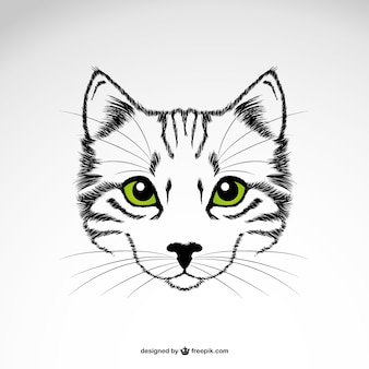 Green eyes cat vector art