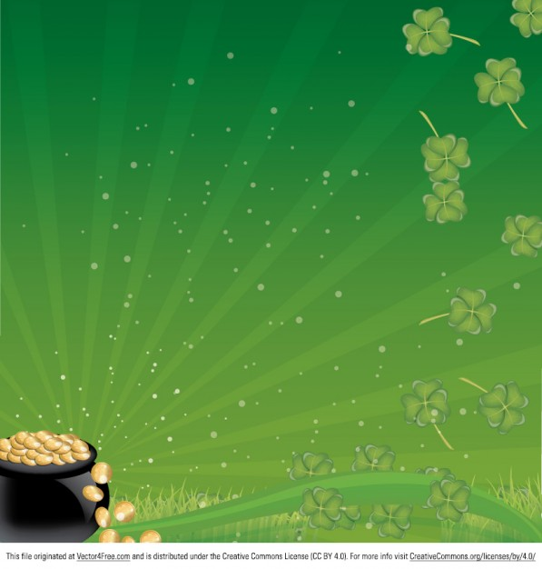 Green floral background with pot of gold
