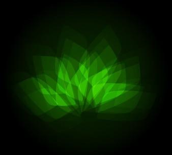 Green flower shape on dark background