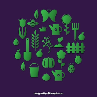 Green gardening icons